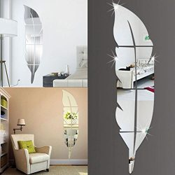 LTUI DIY Removable Feather Mirror Wall Stickers Decal Art Vinyl Home Room Decoration for Home Of ...