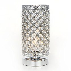 POPILION Modern Decorative Nightstand Silver Crystal Table Lamp, Bedside Table Lamps Perfect for ...