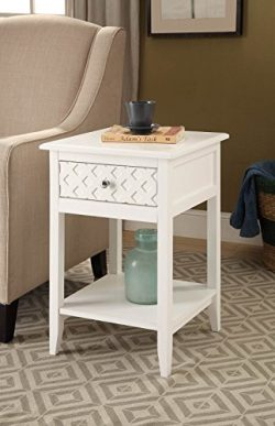 White Finish Patterned Drawer Side End Table Nightstand with Bottom Shelf