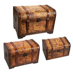 Juvale Wooden Chest Trunk, 3-Piece Storage Trunk and Chests | Map Pattern – Antique Victor ...