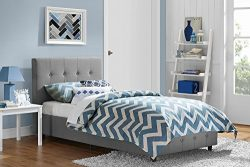 DHP Rose Linen Tufted Upholstered Platform Bed, Button Tufted Headboard and Footboard with Woode ...