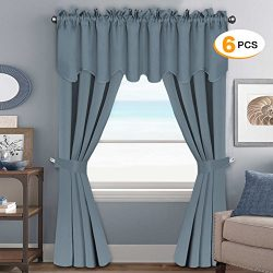H.Versailtex Blackout Curtains Sets (6 pcs), Thermal Insulated Grommet Window Drapes for Bedroom ...