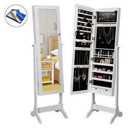 HollyHOME Mirrored Jewelry Cabinet Lockable Standing Jewelry Armoire Holder Organizer with LED L ...
