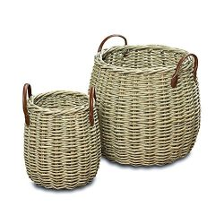 The Cape Cod Wicker Belly Baskets, Set of 2, Faux Leather Side Handles, Storage and Display, Dis ...