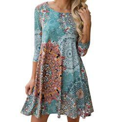 Women Dress,IEason Hot Sale! Womens Long Sleeve Vintage Boho Maxi Evening Party Beach Floral Dre ...