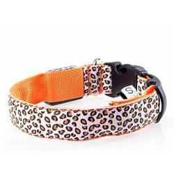 Fashion Leopard LED Dog Nylon 3 Mode Lighting Safety LED Pet Collar Orange XL