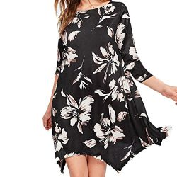 Women Dress,IEason Hot Sale! Women Autumn Casual Print Floral Three Quarter Sleeve Dress (L, Black)