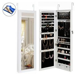 HollyHOME Mirrored Jewelry Cabinet Lockable Wall Door Mounted Jewelry Armoire Organizer with LED ...