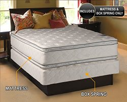 Dream Solutions Pillow Top Mattress and Box Spring Set (Queen) Double-Sided Sleep System with En ...