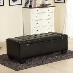 Belleze 51″-inch Storage Ottoman Bench Black Faux Leather Large Rectangular Tufted