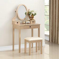 Roundhill Furniture 3415GL Moniys Wood Moniya Makeup Vanity Table and Stool Set, Gold