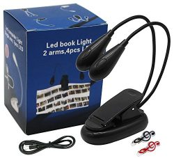 MELODICMusic Stand Light/ Book Reading Light/ USB and Battery Operated/ Clip on and Portable Lig ...