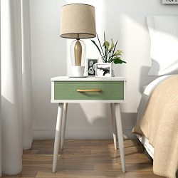 Lifewit Side Table End Table Nightstand White Series (Nightstand with Green Drawer)