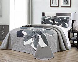 3-Piece Fine printed Oversize (115″ X 95″) Quilt Set Reversible Bedspread Coverlet K ...