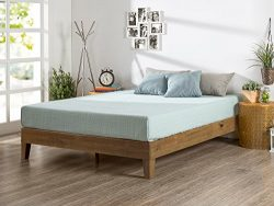 Zinus 12 Inch Deluxe Wood Platform Bed / No Boxspring Needed / Wood Slat Support / Rustic Pine F ...