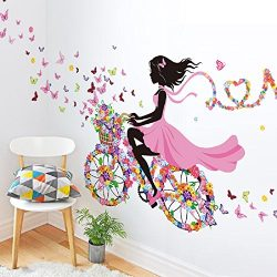SWORNA Nature Series SN049 Flower Butterfly Girl on Bicycle Removable Vinyl DIY Wall Art Mural S ...