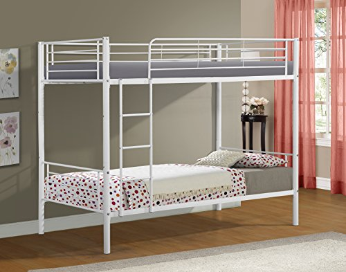 Merax Twin-Over-Twin Metal Bunk Bed in White Finish (White.)