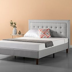 Zinus Upholstered Button Tufted Premium Platform Bed / Strong Wood Slat Support / Grey Sand, Queen