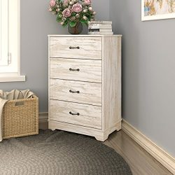 Modern 4 Drawer Wood Chest in OAK, Works as Dresser & Cabinet for Home & Office by DEVAI ...