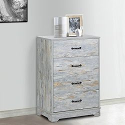 DEVAISE 4-Drawer Chest Dresser, Wood Storage Cabinet for Closet/Office , Blue Oak