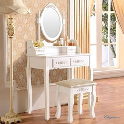Mecor Vanity Makeup Table Set Dressing Table with 4 Drawers/ Stool White