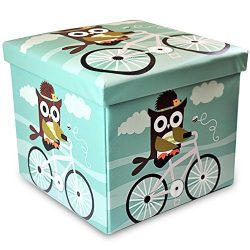 Stuff n Sit Kids Toy Storage Ottoman Folding Trunk Toy Chest For Kids Owl Decor Unisex Large 15& ...