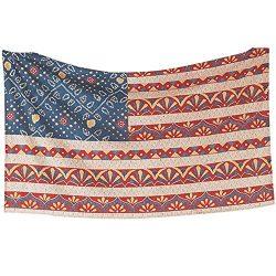 TINTON LIFE 59 x 79″ Wall Tapestry Polyester Fabric Vintage American Flag Wallpaper Headbo ...