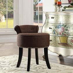Taylor Brown Linen Vanity Stool – Nailhead Trim | Roll Back | Button Tufted |Bedroom| Insp ...