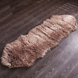 Chanasya Super Soft Faux Fur Fake Sheepskin Brown Sofa Couch Stool Casper Vanity Chair Cover Rug ...