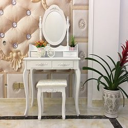FCH Vanity Set with Mirror&Stool Dressing Table Vanity Makeup Table Stool Set for Bedroom/Ba ...