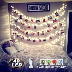 [ Remote&Timer]40 LED Photo Clips String Lights,18ft USB Powered Fairy String Lights for Han ...