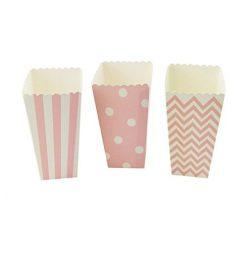 YouMeBest Paper Popcorn Boxes Chevron Striped Polka Dot Pink 36PCS