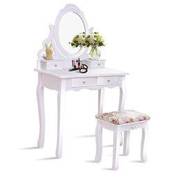 Giantex White Bathroom Vanity Dressing Table Set Mirror with Stool (Round Mirror 4 Drawers)