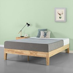 Zinus 14 Inch Deluxe Wood Platform Bed / No Boxspring Needed / Wood Slat Support / Natural Finis ...