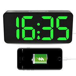 """LED Digital Alarm Clock with USB, 9""""Large Display Clock with Dimmer for Bedrooms, Auto Time Set, ..."""