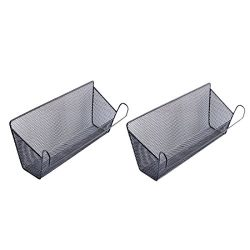 2Pack Dormitory Bedside Storage Baskets, YIFAN Mesh Origanizer Caddy for Books Phones Drinks Off ...
