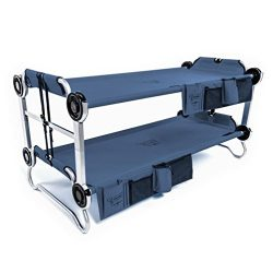 Disc-O-Bed Youth Kid-O-Bunk Benchable Camping Cot with Organizers, Navy Blue