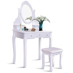 Giantex White Bathroom Vanity Dressing Table Set Mirror with Stool (Round Mirror 5 Drawers)
