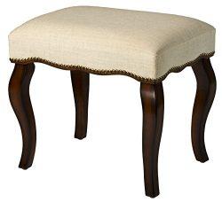 Hillsdale 50962 Hamilton Backless Vanity Stool, Burnished Oak with Cream Fabric