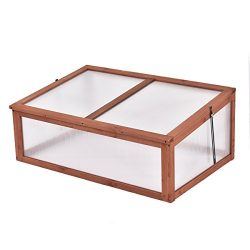 Giantex Garden Portable Wooden Green House Cold Frame Raised Plants Bed Protection (39.3″X ...