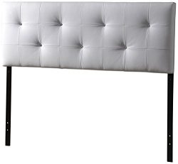 Baxton Studio Wholesale Interiors Dalini Headboard with Faux Crystal Buttons, Full, White