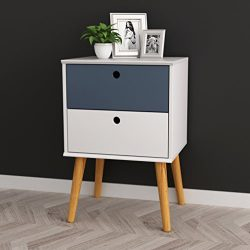 White / Grey Finish Modern Mid-Century Style Nightstand Side Table with Two Drawer