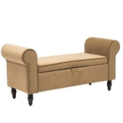 Fabric Upholstered Bedroom Bench Decorative Bench Entryway Hallway Bench (53010-Khaki)