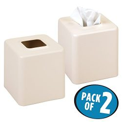 MetroDecor mDesign Square Paper Facial Tissue Box Cover Holder for Bathroom Vanity Countertops,  ...