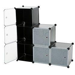 C&AHOME – 6 Cube DIY Closet Organizer Media Storage Cabinet Toy Rack Bookcase Shelf wi ...