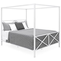 Best Choice Products Modern 4 Post Canopy Queen Bed w/ Metal Frame, Mattress Support, Headboard, ...