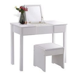 Giantex Bathroom Vanity Dressing Table with Flip Top Mirror 2 Drawers 3 Removable Organizers, White