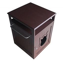 Pet Hup Hup Kitty Cat Thunder Box Pet House and Litter Box Comfort Room with Night Stand, Dark Brown