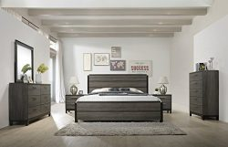Roundhill Furniture Ioana 187 Antique Grey Finish Wood Bed Room Set, King Size Bed, Dresser, Mir ...