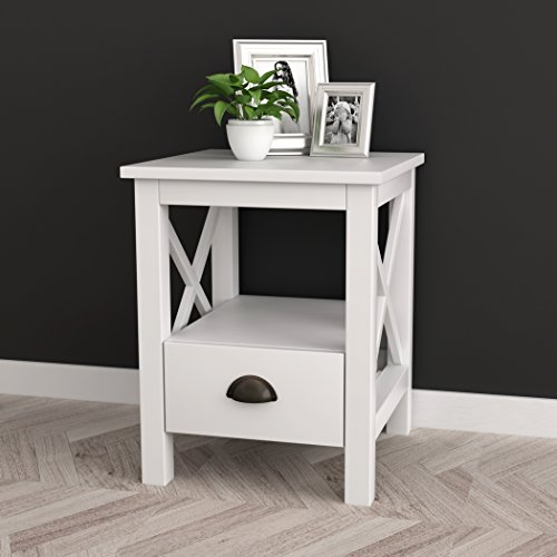 White Finish X Design Nightstand Side End Table With